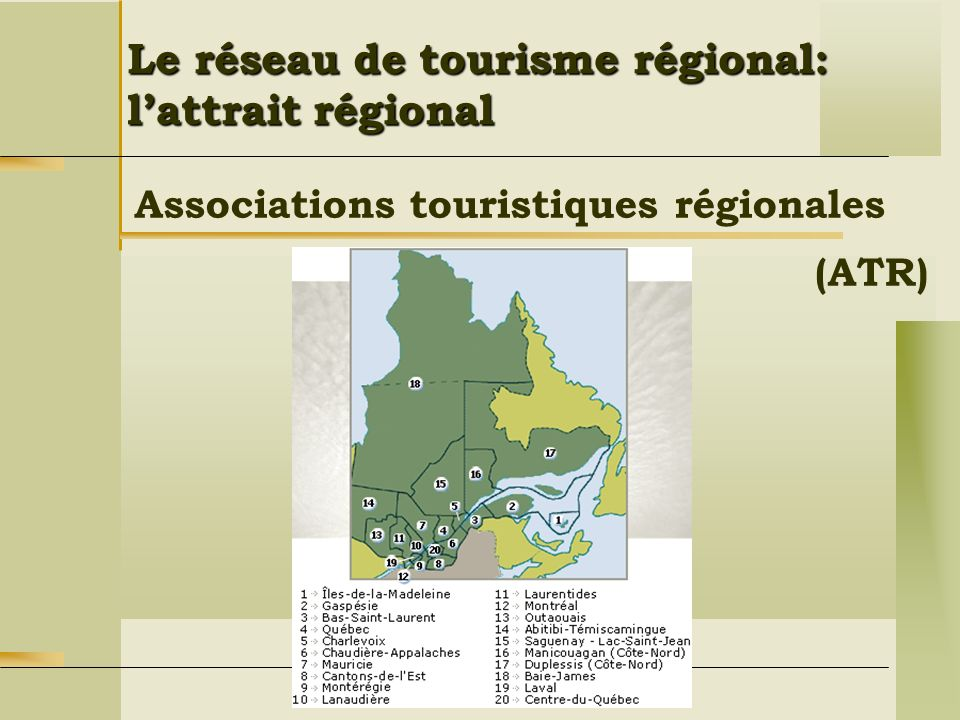 Le réseau de tourisme régional: l'attrait régional