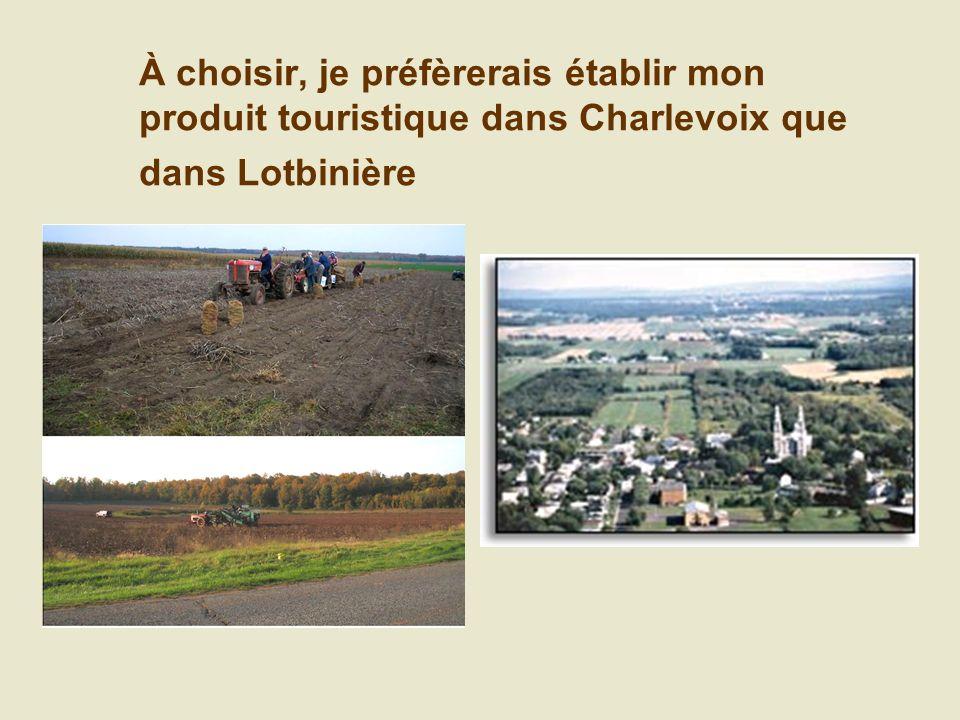 À choisir, je préfèrerais établir mon produit touristique dans Charlevoix que dans Lotbinière