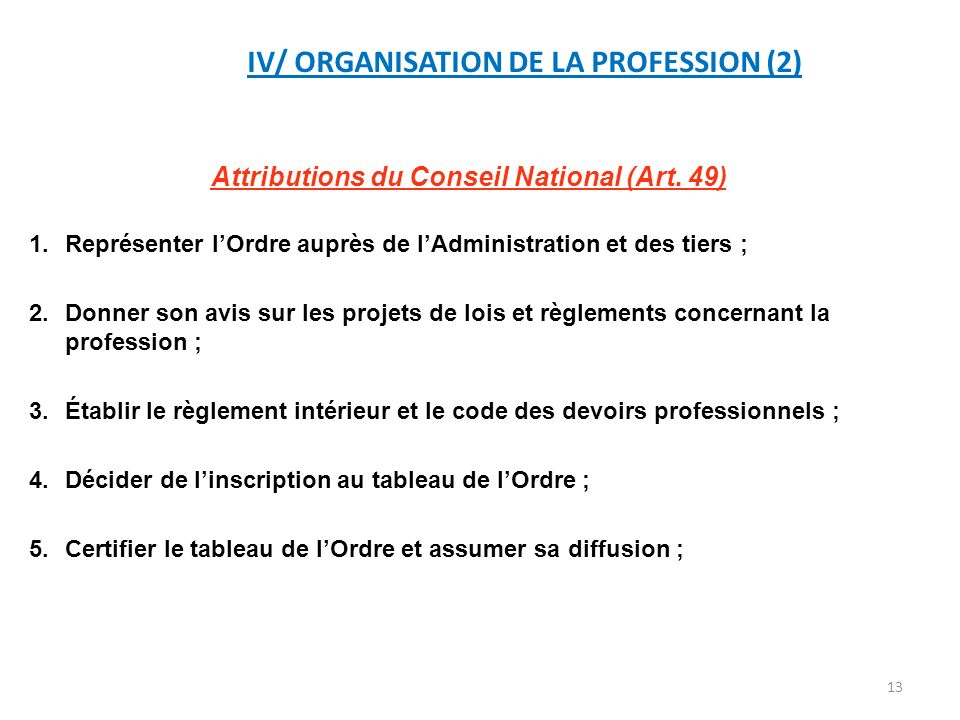 IV/ ORGANISATION DE LA PROFESSION (2)