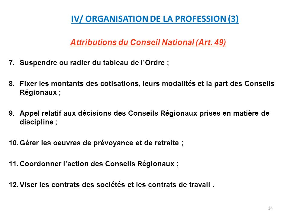 IV/ ORGANISATION DE LA PROFESSION (3)