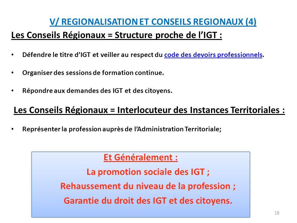 V/ REGIONALISATION ET CONSEILS REGIONAUX (4)