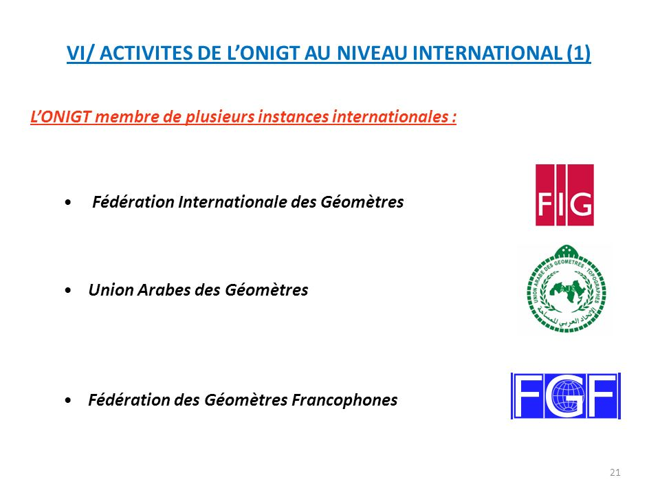 VI/ ACTIVITES DE L'ONIGT AU NIVEAU INTERNATIONAL (1)
