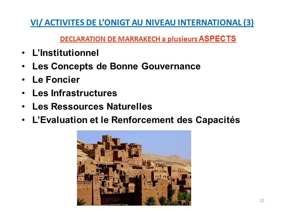 VI/ ACTIVITES DE L'ONIGT AU NIVEAU INTERNATIONAL (3)