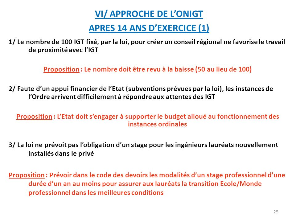 VI/ APPROCHE DE L'ONIGT APRES 14 ANS D'EXERCICE (1)