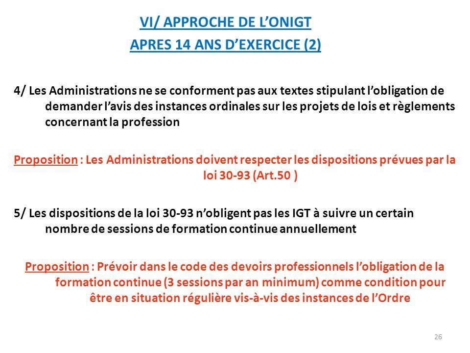 VI/ APPROCHE DE L'ONIGT APRES 14 ANS D'EXERCICE (2)