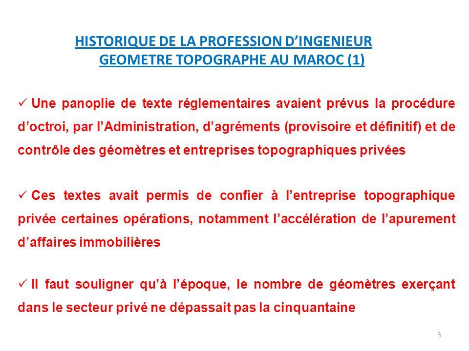 HISTORIQUE DE LA PROFESSION D'INGENIEUR GEOMETRE TOPOGRAPHE AU MAROC (1)