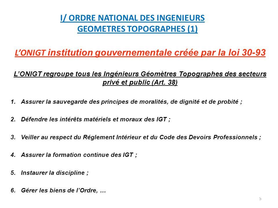 I/ ORDRE NATIONAL DES INGENIEURS GEOMETRES TOPOGRAPHES (1)
