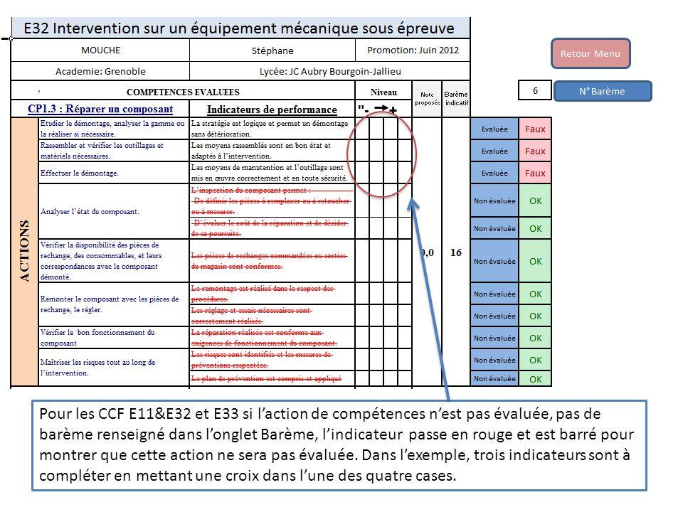 Pour les CCF E11&E32 et E33 si l'action de compétences n'est pas évaluée, pas de barème renseigné dans l'onglet Barème, l'indicateur passe en rouge et est barré pour montrer que cette action ne sera pas évaluée.