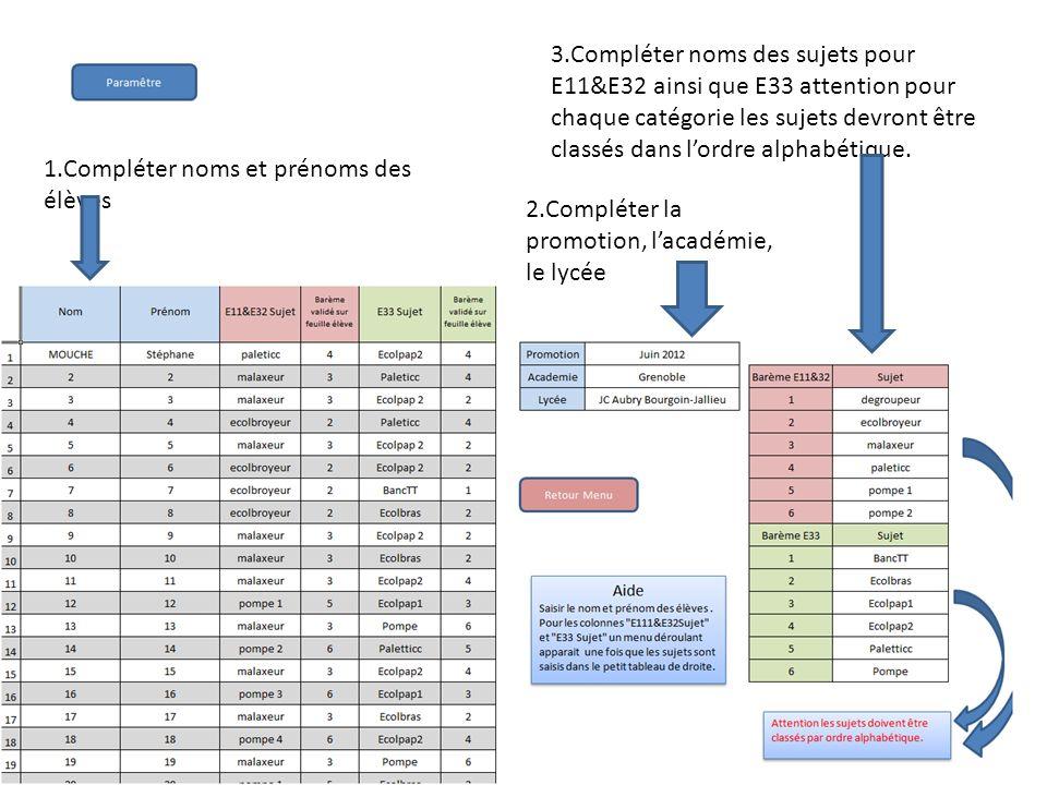 3.Compléter noms des sujets pour E11&E32 ainsi que E33 attention pour chaque catégorie les sujets devront être classés dans l'ordre alphabétique.