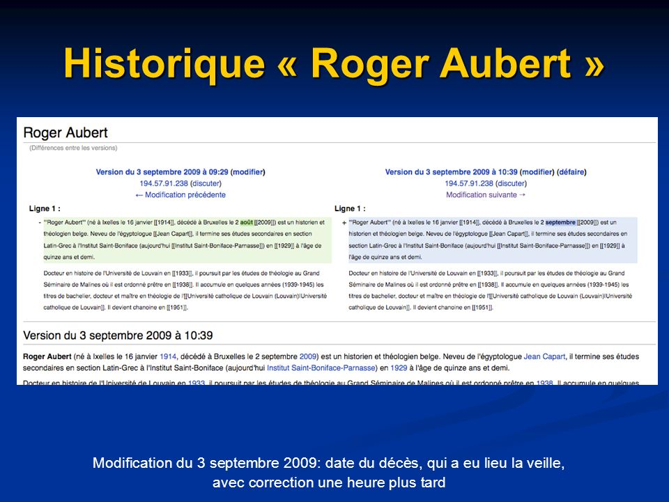 Historique « Roger Aubert »