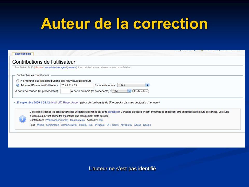 Auteur de la correction