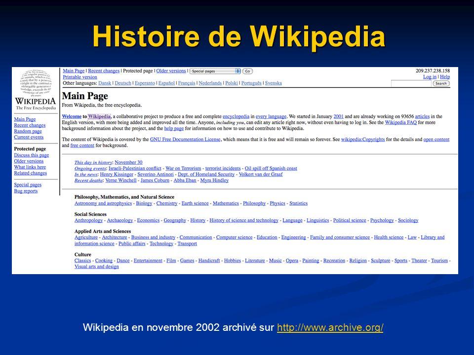 Wikipedia en novembre 2002 archivé sur http://www.archive.org/