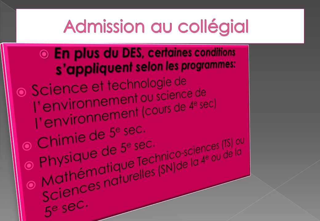 Admission au collégial