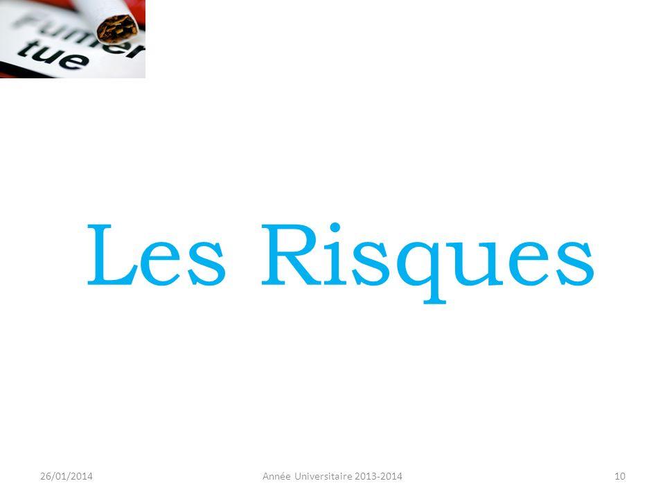 Les Risques 26/01/2014 Année Universitaire 2013-2014