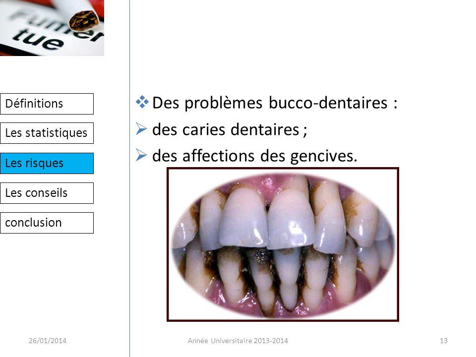 Des problèmes bucco-dentaires : des caries dentaires ;