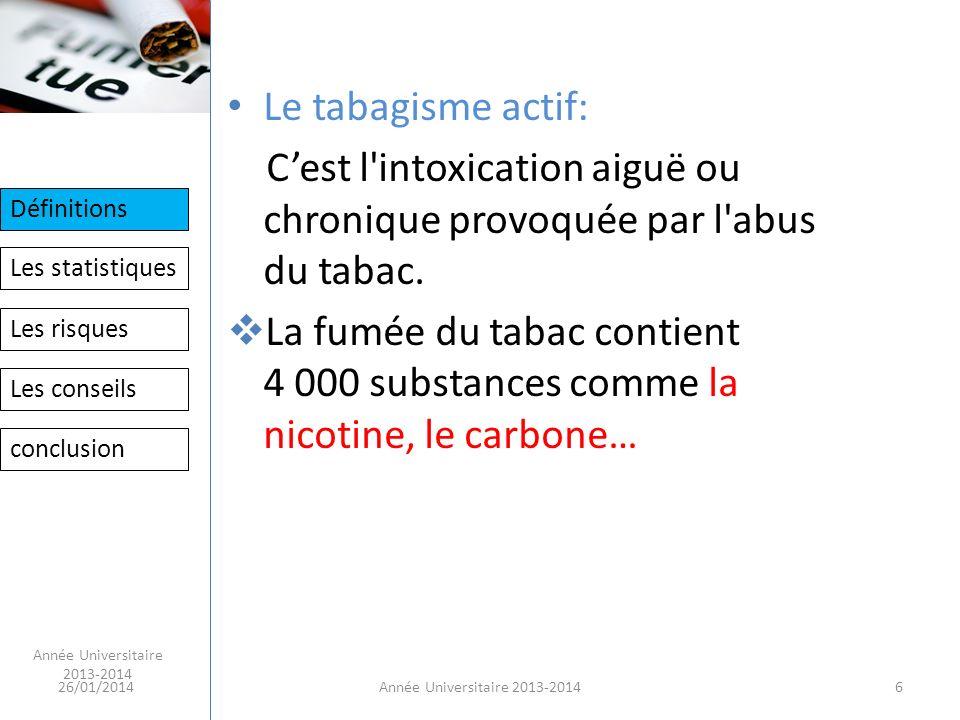 C'est l intoxication aiguë ou chronique provoquée par l abus du tabac.