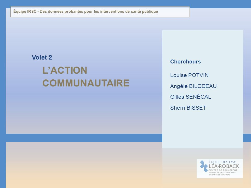 L'ACTION COMMUNAUTAIRE Volet 2 Chercheurs Louise POTVIN