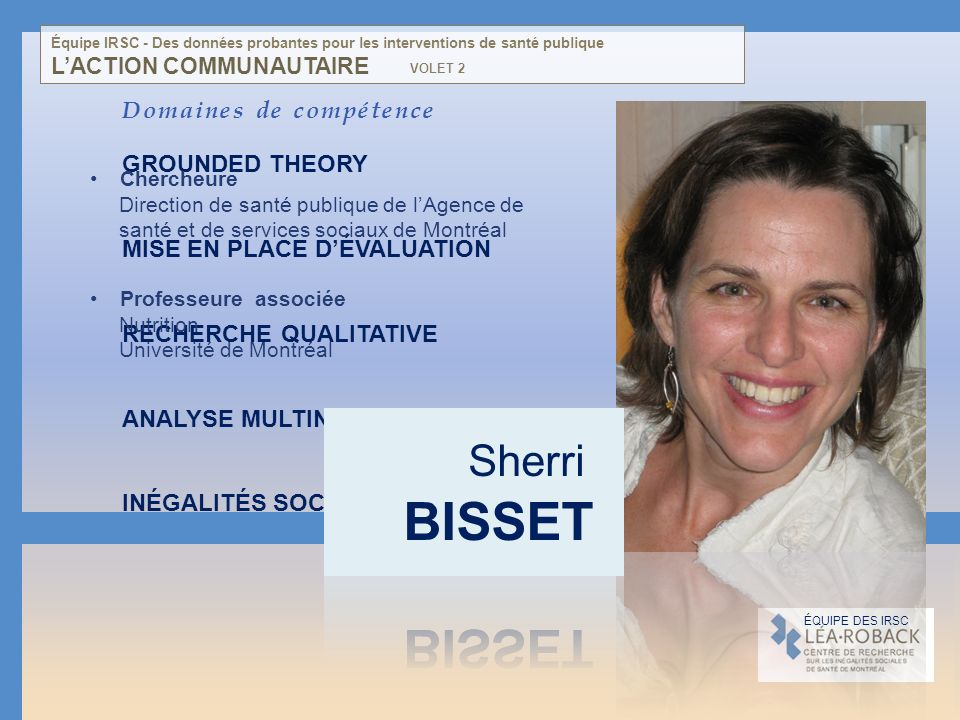 BISSET Sherri Domaines de compétence GROUNDED THEORY