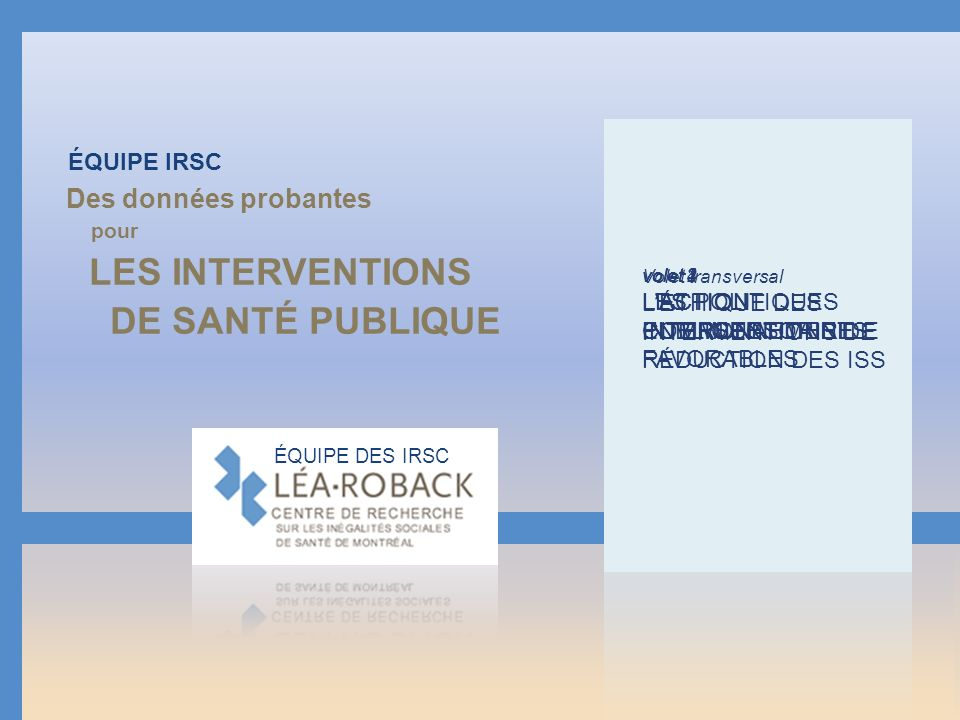 les interventions De santé publique Des données probantes Équipe IRSC