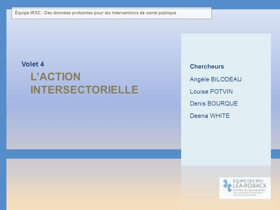 L'ACTION INTERSECTORIELLE