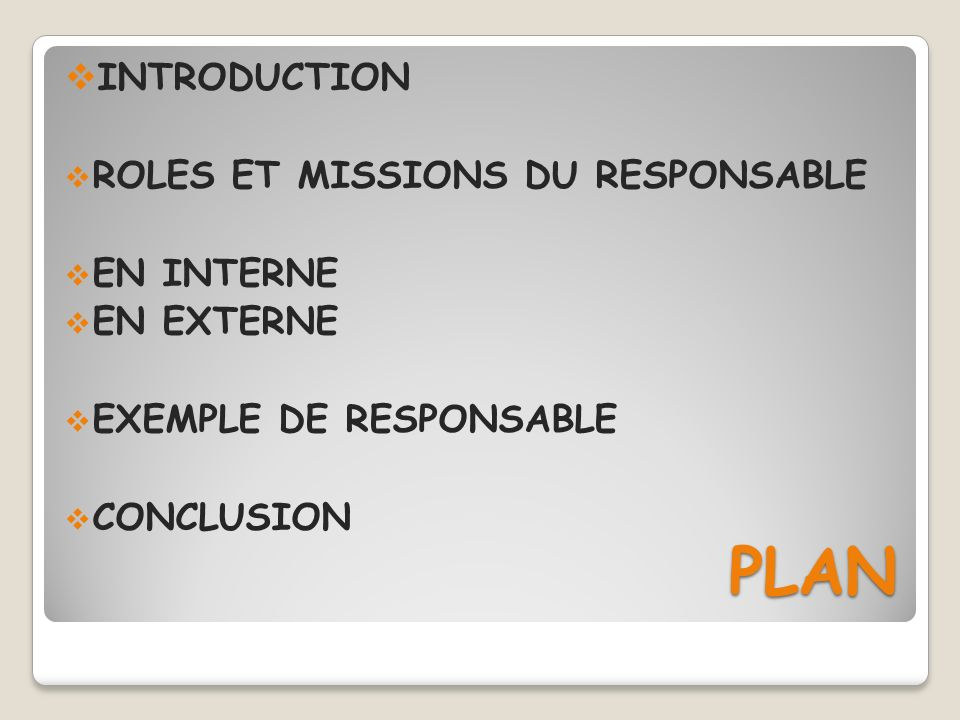 PLAN INTRODUCTION ROLES ET MISSIONS DU RESPONSABLE EN INTERNE