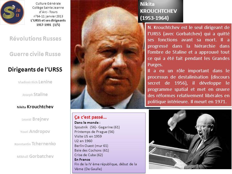 L'URSS et ses dirigeants Konstantin Tchernenko