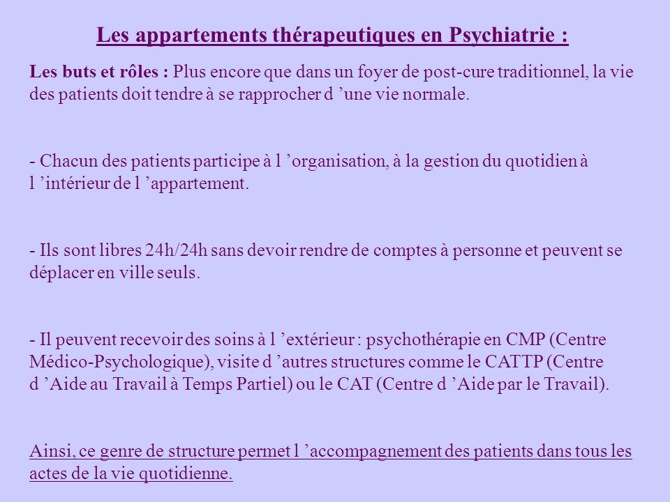 Les appartements thérapeutiques en Psychiatrie :