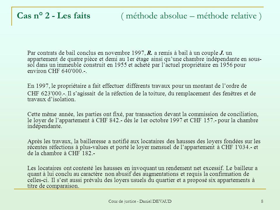 Cas n° 2 - Les faits ( méthode absolue – méthode relative )