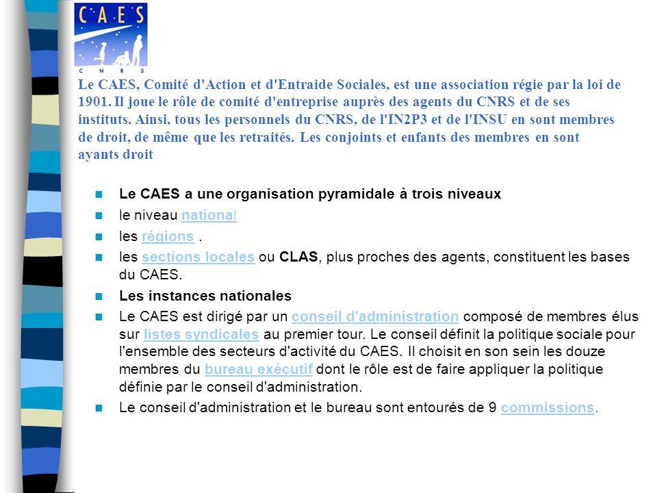 Le CAES, Comité d Action et d Entraide Sociales, est une association régie par la loi de 1901. Il joue le rôle de comité d entreprise auprès des agents du CNRS et de ses instituts. Ainsi, tous les personnels du CNRS, de l IN2P3 et de l INSU en sont membres de droit, de même que les retraités. Les conjoints et enfants des membres en sont ayants droit