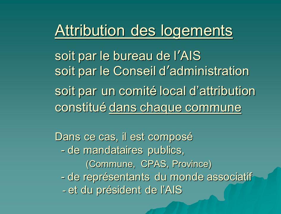 Attribution des logements soit par le bureau de l'AIS soit par le Conseil d'administration soit par un comité local d'attribution constitué dans chaque commune Dans ce cas, il est composé - de mandataires publics, (Commune, CPAS, Province) - de représentants du monde associatif - et du président de l'AIS