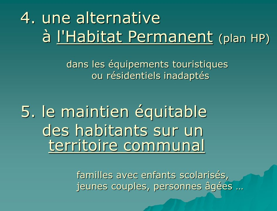 à l Habitat Permanent (plan HP)