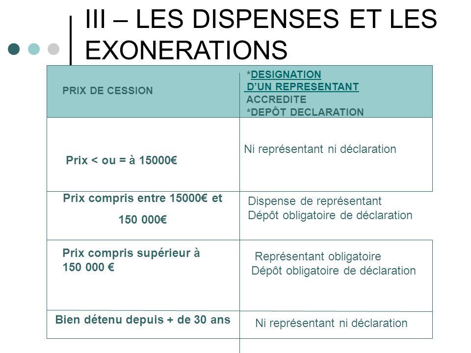 III – LES DISPENSES ET LES EXONERATIONS
