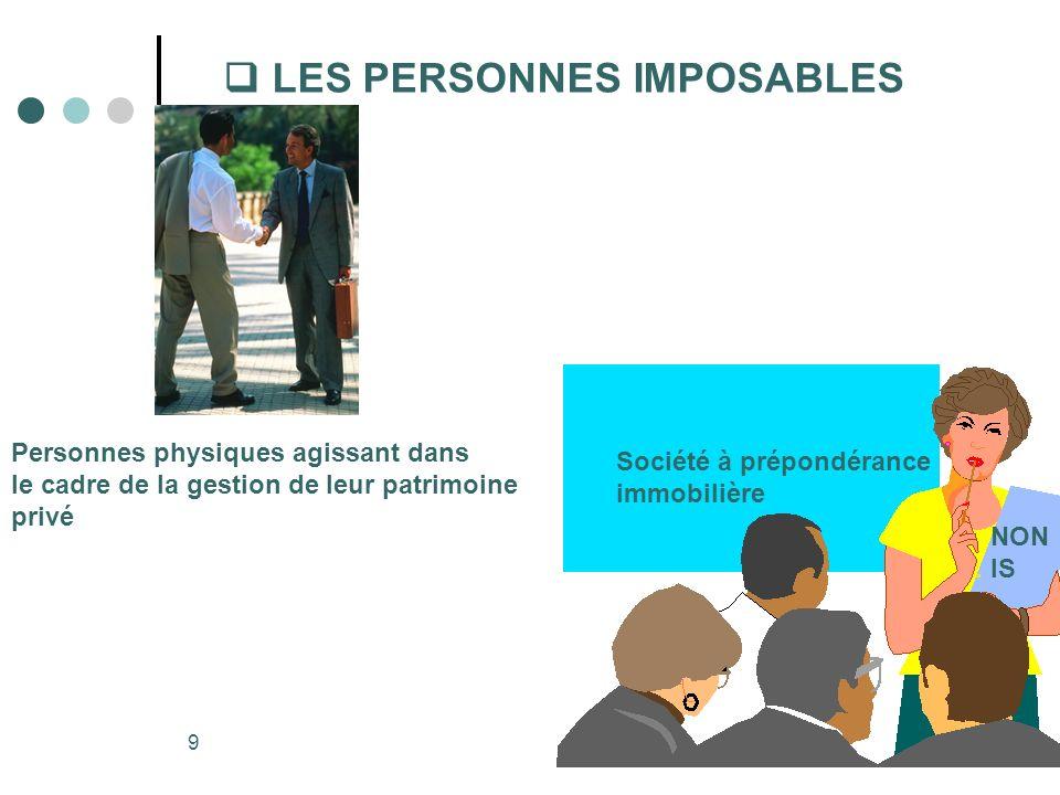 LES PERSONNES IMPOSABLES