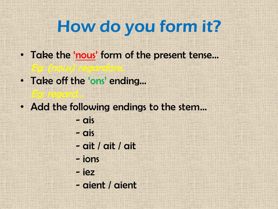How do you form it Take the 'nous' form of the present tense...