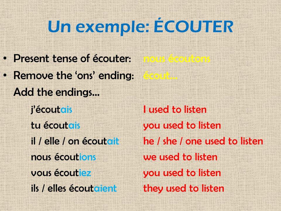 Un exemple: ÉCOUTER Present tense of écouter: nous écoutons
