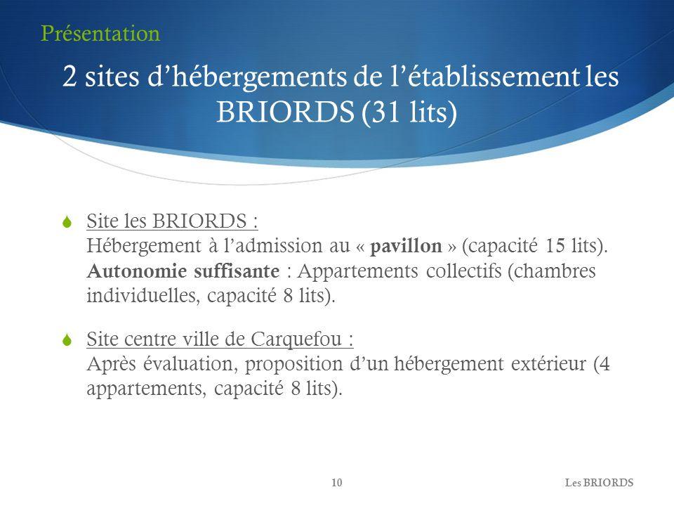 2 sites d'hébergements de l'établissement les BRIORDS (31 lits)