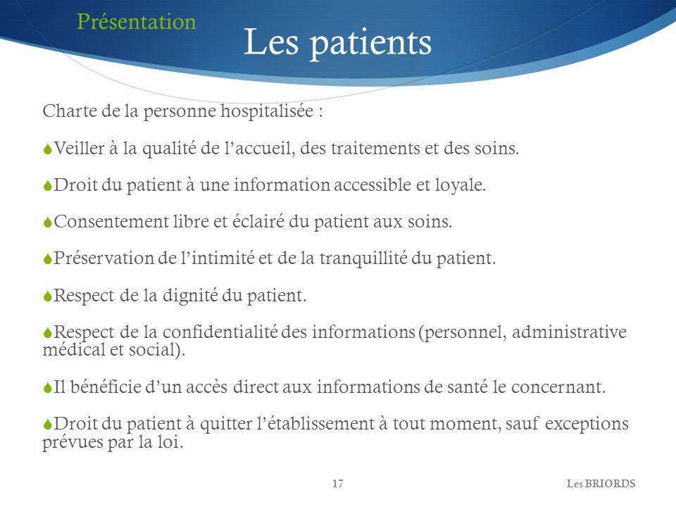 Les patients Présentation Charte de la personne hospitalisée :