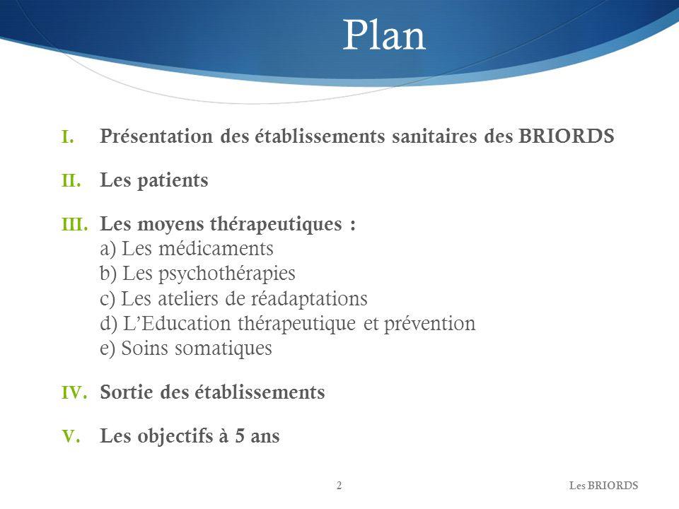Plan Présentation des établissements sanitaires des BRIORDS