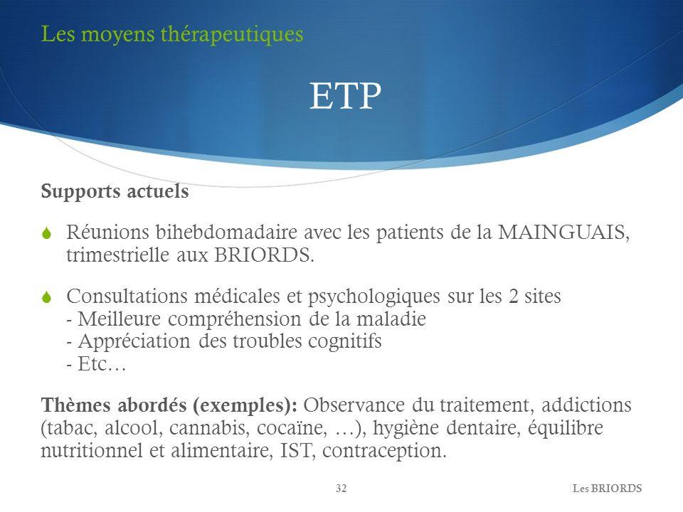 ETP Les moyens thérapeutiques Supports actuels