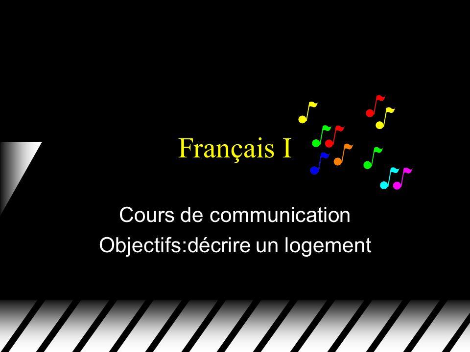 Cours de communication Objectifs:décrire un logement