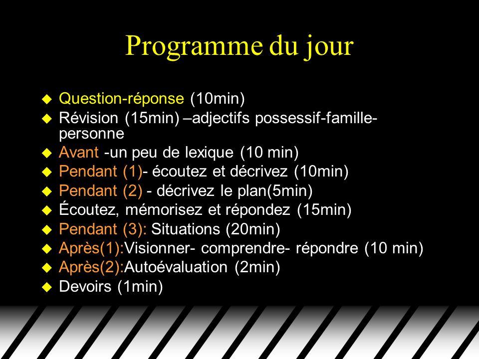 Programme du jour Question-réponse (10min)