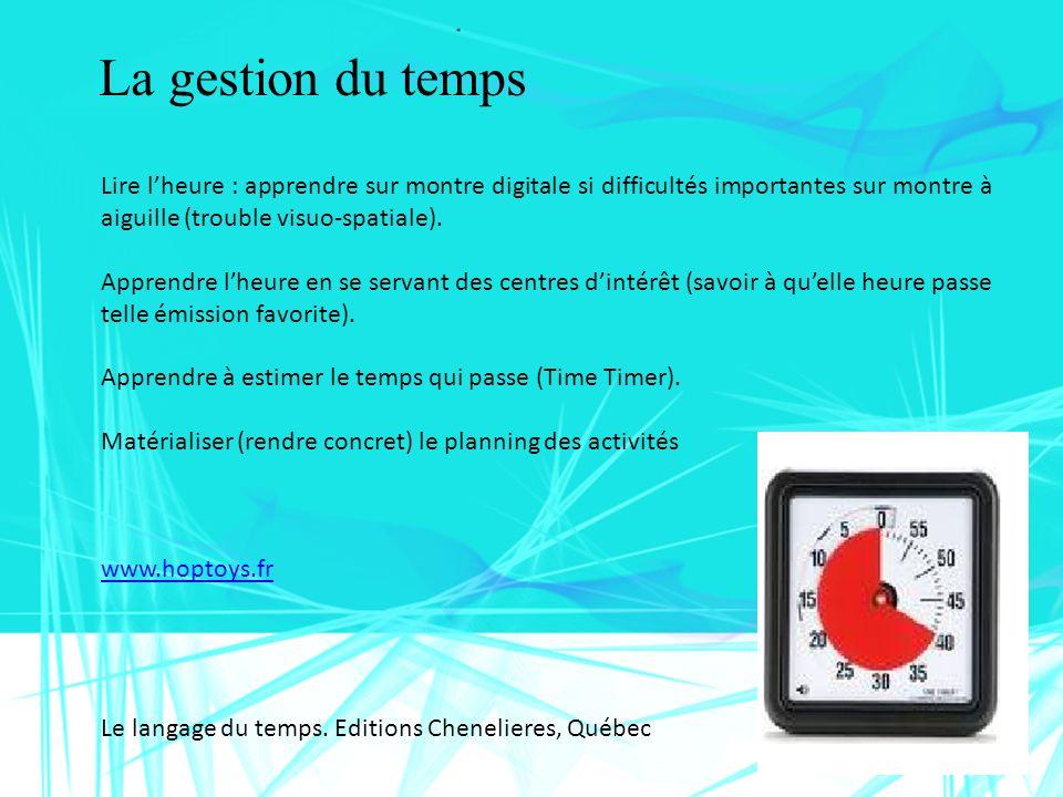 La gestion du temps Lire l'heure : apprendre sur montre digitale si difficultés importantes sur montre à aiguille (trouble visuo-spatiale).