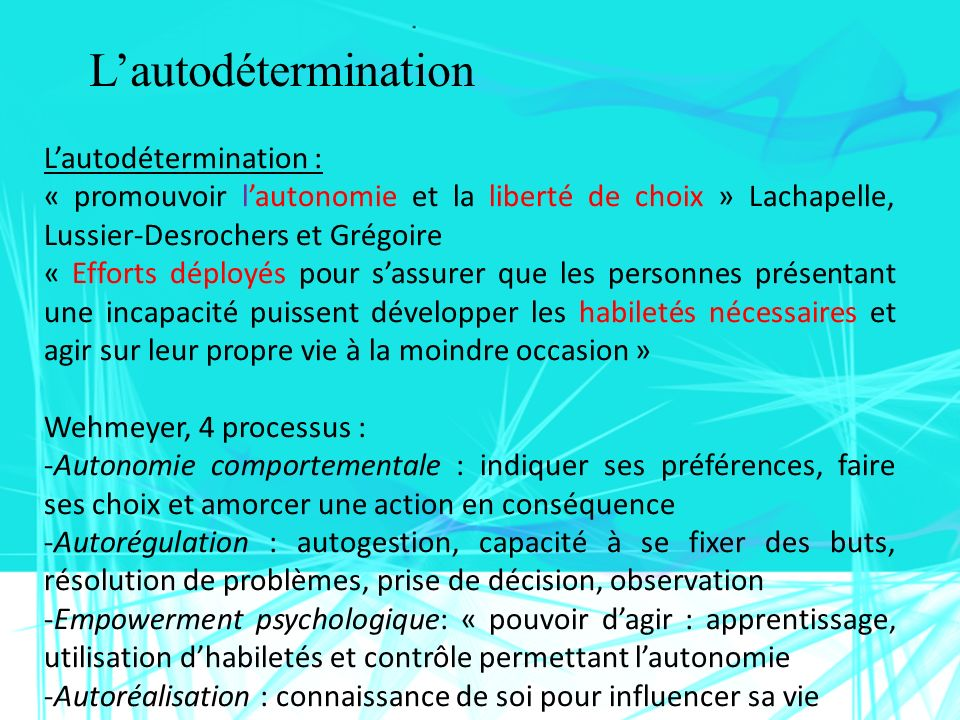 L'autodétermination L'autodétermination :