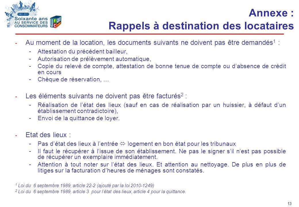 Annexe : Rappels à destination des locataires