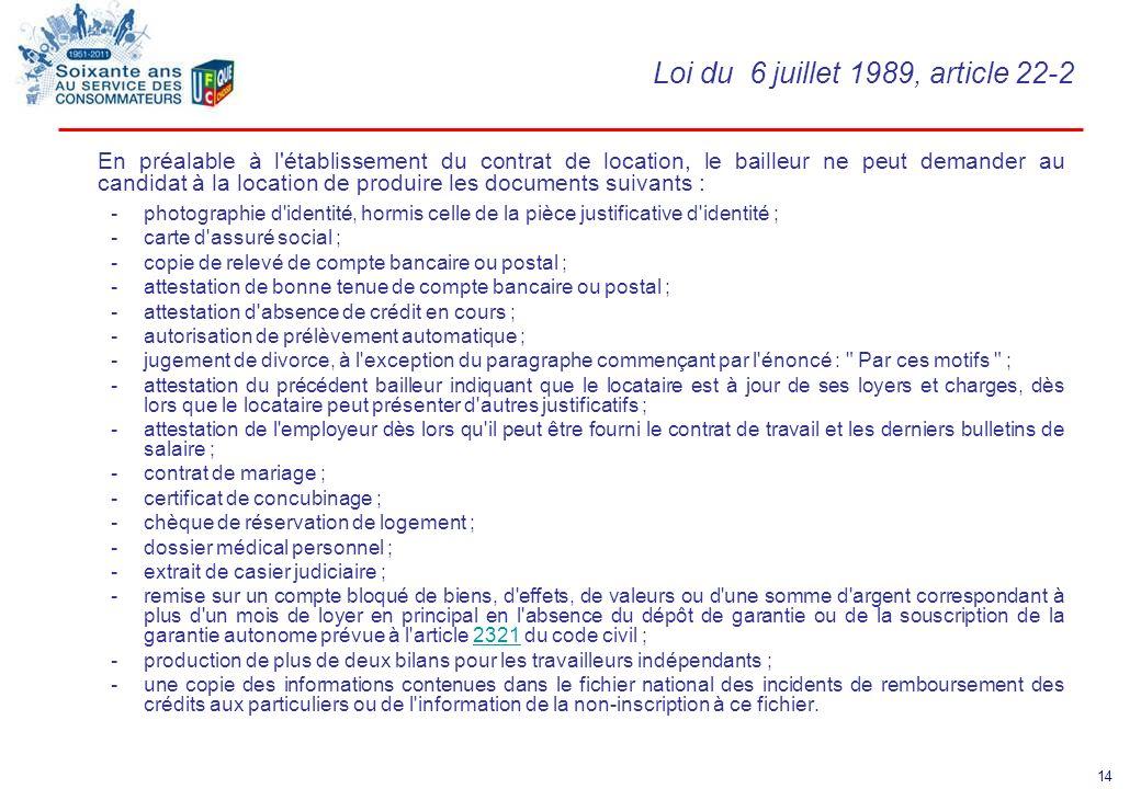 Loi du 6 juillet 1989, article 22-2
