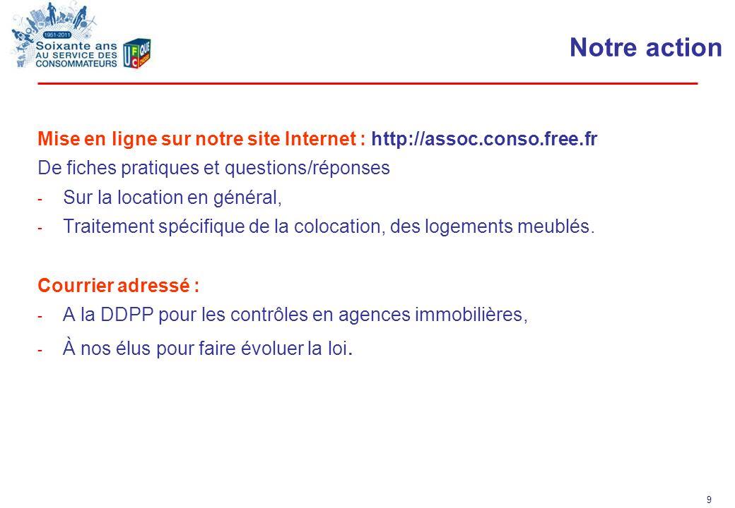 Notre action Mise en ligne sur notre site Internet : http://assoc.conso.free.fr. De fiches pratiques et questions/réponses.