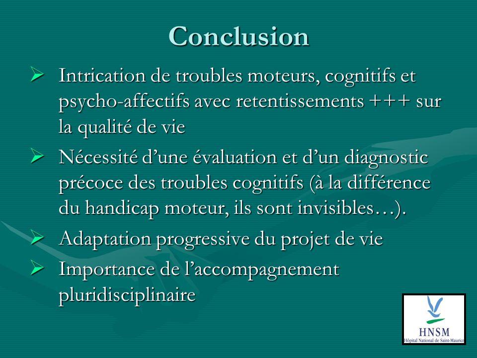 Conclusion Intrication de troubles moteurs, cognitifs et psycho-affectifs avec retentissements +++ sur la qualité de vie.