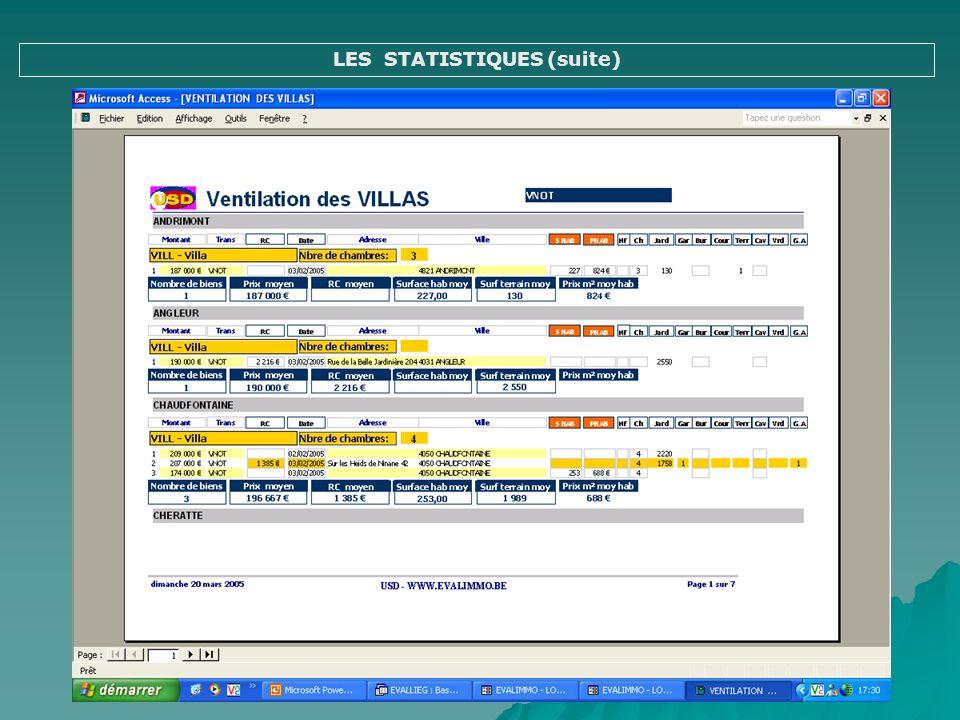 LES STATISTIQUES (suite)
