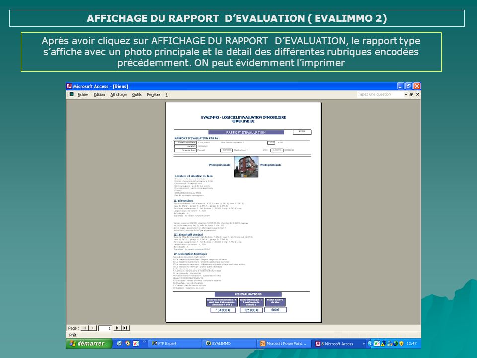 AFFICHAGE DU RAPPORT D'EVALUATION ( EVALIMMO 2)