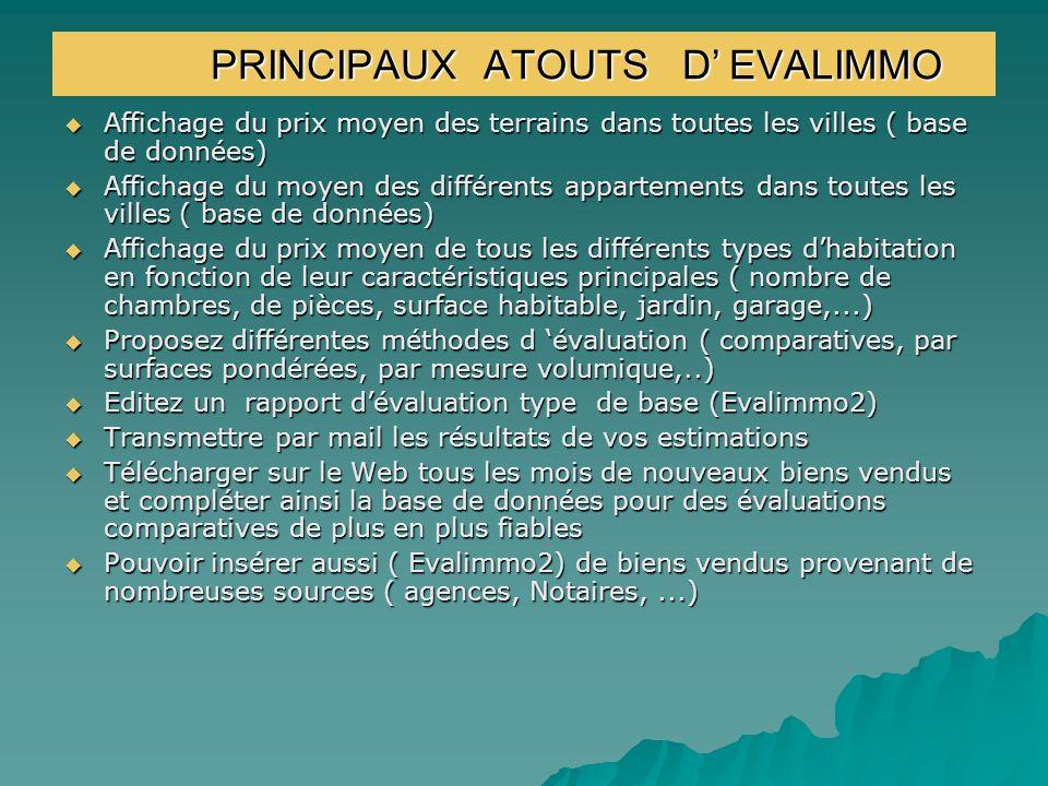 PRINCIPAUX ATOUTS D' EVALIMMO